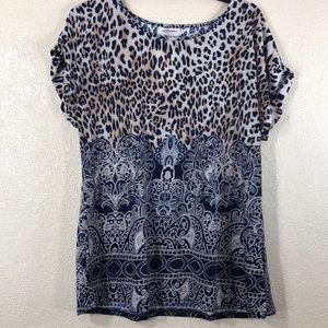Ace Fashion Top Blouse Navy Blue Tan L NWT